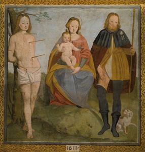 Anselmo Allasina Madonna con Bambino tra i Santi Rocco e Sebastiano