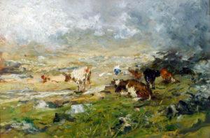 Lorenzo Delleani Paesaggio montano con mucche al pascolo – Alto biellese (impressione)