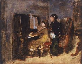 Silvestro Lega (Modigliana, Forlì 1826-Firenze 1895) Lezione di musica